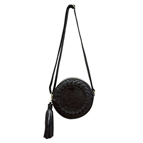 roll Bag£¨Black£© tassel Crossbody R Messenger Round bag Cute SODIAL Fashion women New weave Bag Ladies Shoulder Bag a6fwBaxqX
