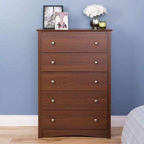 Cherry 5 Departments Dresser Drawers Bedroom Furniture Bed Room Clothes Organizer Storage Chest Shelf Clothing Cabinet Home Office Living Room Bedroom Unit Decoration