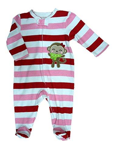 Little Wonders Infant Girls Pink & Red Striped Monkey Blanket Sleeper Pajamas Sleep & Play (Red Monkey Striped)