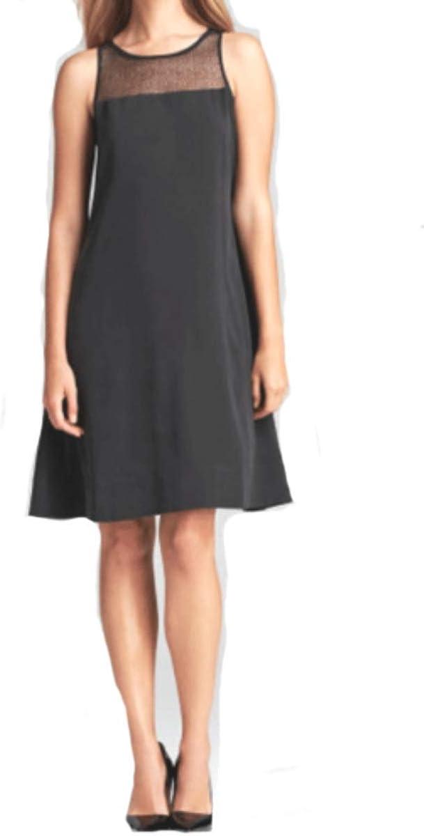 Eileen Fisher Silk Crepe Black Dress XS S PM MSRP $338.00