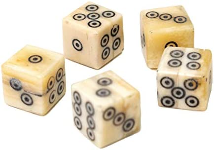 Mythrojan Hand Made Authentic Roman Dice D6 Dice Set for Dice Games 5 Piece Small Gaming Dice Set