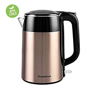 Electric Water Kettle Smarlance Original Seamless Stainless Steel Double Wall Anti-scald Hot Water Kettle 1.8 Quart, Fast Heating with Auto Shut-Off