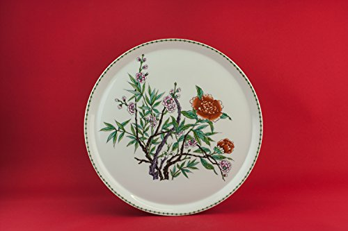 Large Vintage Floral Limoges CAKE PLATE Kitchen Gift Porcelain Green Retro Old Dinner France Late 20th Century LS -