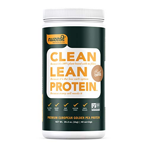 Nuzest Clean Lean Protein - Premium Vegan Protein Powder, Plant Protein Powder, European Golden Pea Protein, Dairy Free, Gluten Free, GMO Free, Naturally Sweetened, Real Coffee, 40 Servings, 2.2 lb