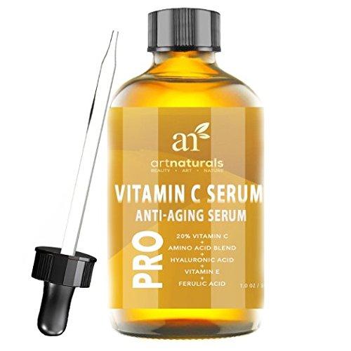 ArtNaturals Enhanced vitamine C contenant du sérum acide hyaluronique 1 Oz - Top Anti rides, Anti vieillissement & réparations les cernes, les taches de vieillesse se fane & dommages dus au soleil - 20 % vitamine C Super force - ingrédients biolog