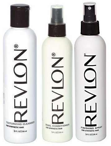 (Revlon 3 Piece Care Kit For Synthetic Hair & Wigs with Cleanser, Conditioner & Styling Spray)