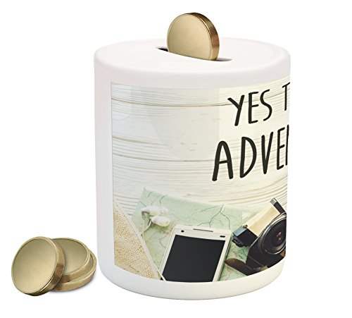 Ambesonne Adventure Piggy Bank, Say Yes to New Adventures Text Travel Preparations Theme Wanderlust Concept Retro, Printed Ceramic Coin Bank Money Box for Cash Saving, Multicolor