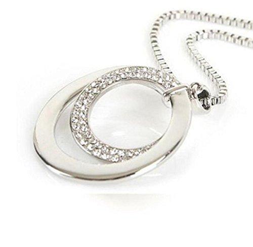LEERYA Women Fashion Crystal Rhinestone Silver Plated Pendant Necklace Long Chain (A) - Silver Plated Fashion Pendant