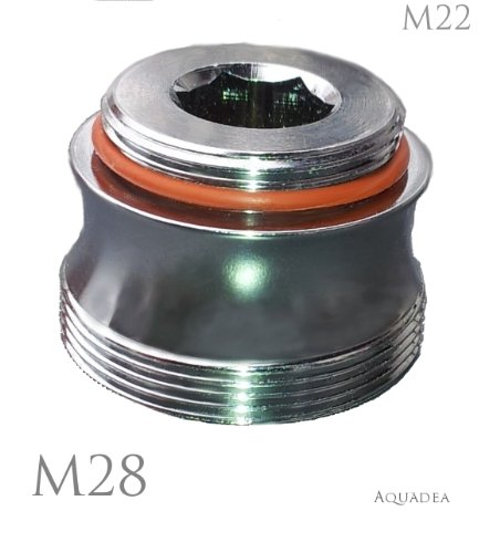 M22 male x M28 male, thread adapter, brass chrome coated,...