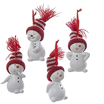 kurt adler snowman with red and white stripe knit hat ornament set of 4