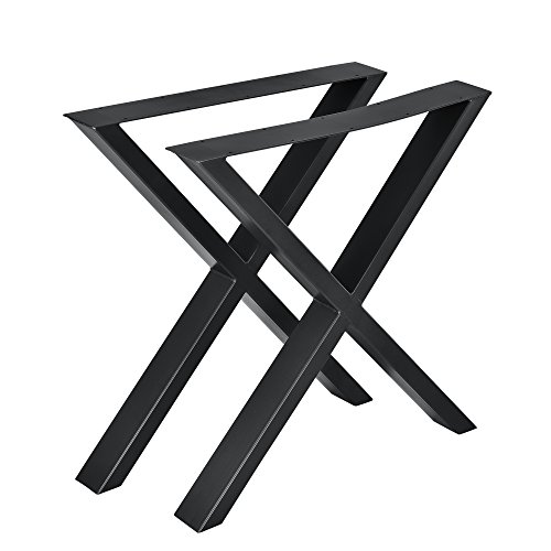 [en.casa] Conjunto de Patas de Mesa - Set de 2X Patas de Mesa - Negro - 69 x 72 cm - Patas para Mesa en Forma de X