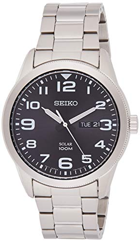 Seiko Men's Analogue Solar Powered Watch with Stainless Steel Strap SNE471P1