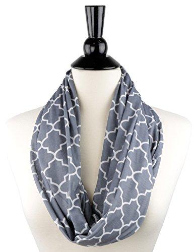 Womens Infinity Scarf w/ Zipper Pocket & Pattern Print, Infinity Scarves - Grey (Ladies Business Scarf)