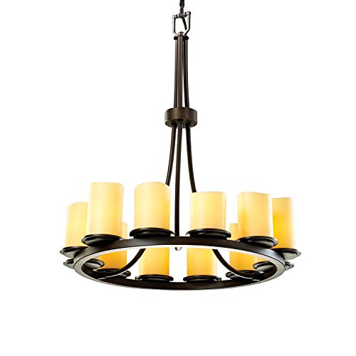 (Justice Design Group CandleAria 12-Light Chandelier - Dark Bronze Finish with Amber Faux Candle Resin)