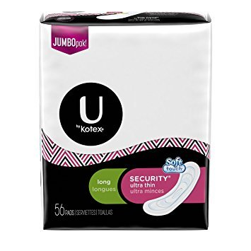 U by Kotex Security Ultra Thin Pads, Long, Unscented, 56 Count , Pack of 2
