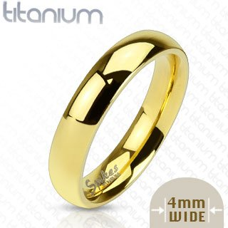 TIR-0011 Solid Titanium Gold IP 4mm Wide Classic Band Ring; Comes With Free Gift Box (Classic Solid Wide Band)