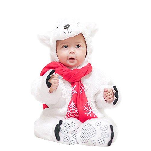 Shubuy Baby Halloween Polar Bear Costume Hooded Bodysuit Footies Romper 3PC/Set Onesie Outfit (90CM, (Polar Bear Costumes Pattern)
