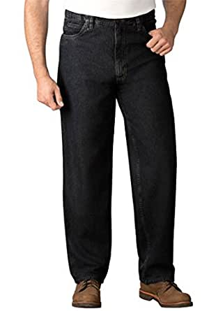 Liberty Blues Men's Big & Tall Expandable Waist Relaxed Fit Jeans, Black Denim