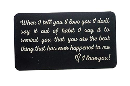 Romantic Gifts for Him- Engraved Metal Wallet Inserts - Gift Ideas for Boyfriend, Anniversary, Deployment, Fiance, Long Distance Relationship, Husband Gifts from Wife