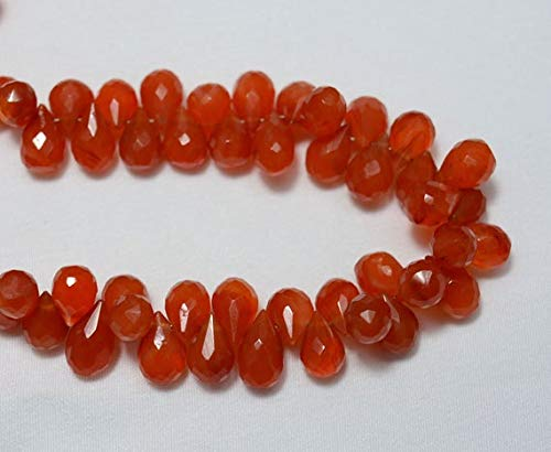 GemAbyss Beads Gemstone Half Strand Carnelian Tear Drops Beads, Faceted Tear Drops Briolettes, Gemstone for Jewelry, 6x10mm Approx, 3.5 Inch Strand ()