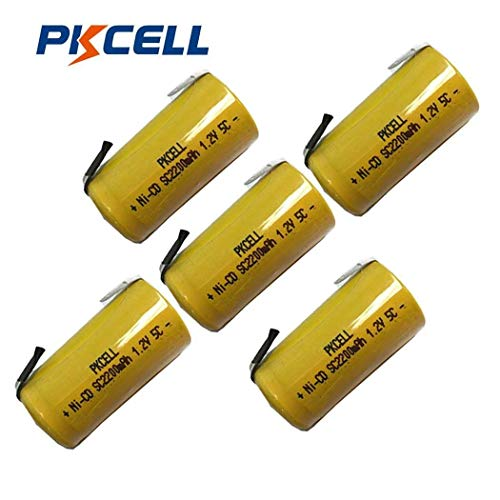 Pkcell Sub C 2200mAh NiCd Rechargeable Battery for Power Tools (w/Tabs) (5pc) (Sub C Nicd Rechargeable Battery)