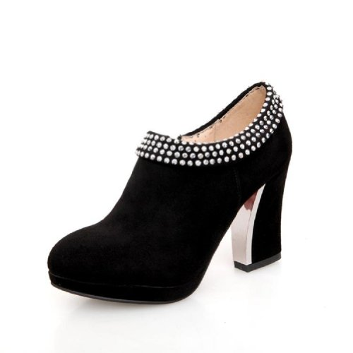 Charm Foot Vintage Womens Platform High Heel Ankle Boots Dress Shoes Black z6M6Vl