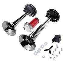 12V 178db Black Car Motorcycle Air Horn Train Kit Dual Trumpet Ultra Loud