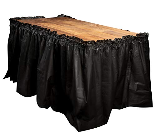Disposable Table Skirts – 6-Pack Ruffled Plastic Table Skirts – Perfect for Weddings, Engagement Parties, Birthdays, Business Events, Baby Showers, Black, Suitable for Tables Up To 8 Feet Long ()