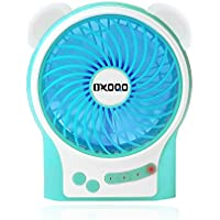 OXOQO Mini Portable Quiet Desk Fan Built-in 3600 MAh Upgrade Rechargeable Battery, Small USB Desk Cooling Fan for Room Office Outdoor Travel Camping Car (Blue)