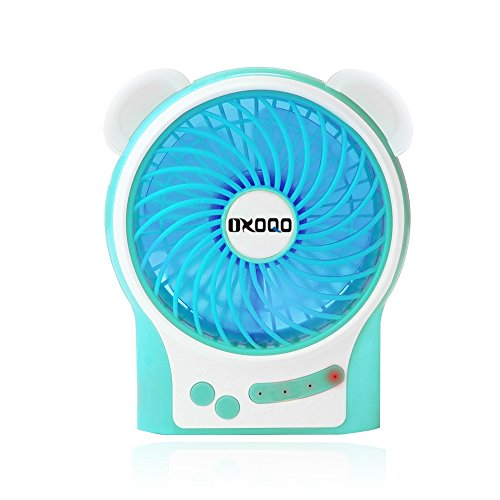 Portable USB Mini Fan, OXOQO Desk Desktop Table Electric Quiet Fan with LED Light, Built-in 2500mah Rechargeable Battery for Room Office Outdoor Travel Camping Car, Blue by OXOQO