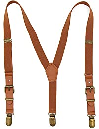 Boys Suspenders Adjustable Elastic Y-back Tuxedo Suspender Braces with Brown Leather & Bronze Clips for Kids Children