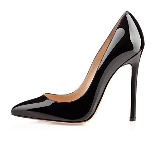 EDEFS Womens Pointed Toe High Heel Court Shoes Slip On Elegant Dress Pumps 12CM Stilettos Black