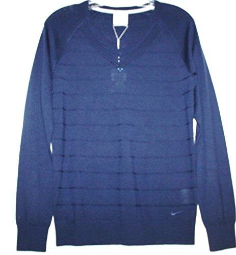 Nike Golf Tour Performance Women's Merino Wool Blend V Neck Sweater 619988 (M, Navy Blue)