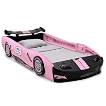 Delta Children Turbo Race Car Twin Bed, Pink