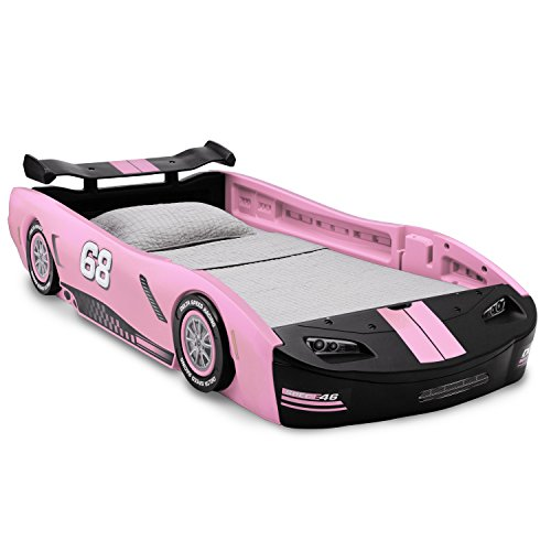 Delta Children Turbo Race Car Twin Bed, Pink (Twin Girl Toddler Bed)