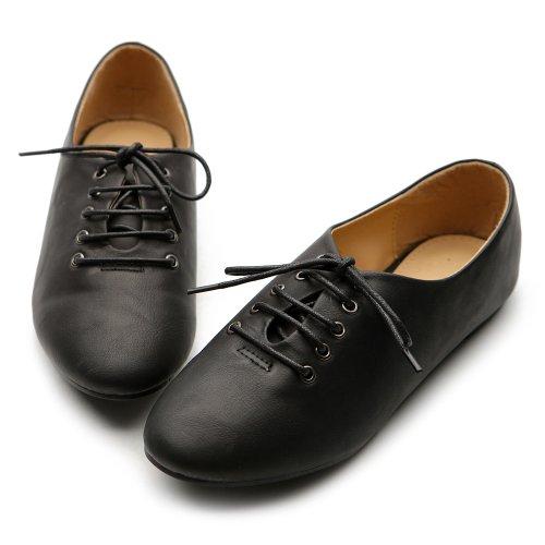 Color Multi Shoe Ballet Flat Women's Ollio Up Lace Oxford Black Y0qt5A