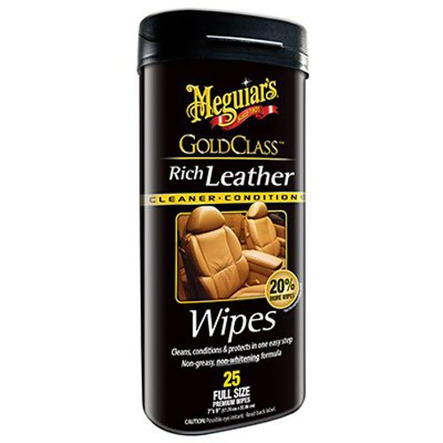 Meguiars G10900 Gold Class Rich Leather Cleaner   Conditioner Wipes  25 Wipes