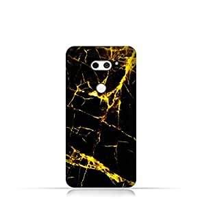 LG V 30 TPU Silicone Case With Dark and Gold Mesh Marble Pattern