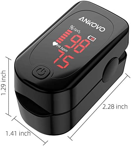Pulse Oximeter Fingertip, ANKOVO Blood Oxygen Saturation Monitor with Pulse Rate, Heart Rate Monitor, Portable Pulse Ox with 2 Batteries and Lanyard (Royal Black) 41MAU6PpmPL
