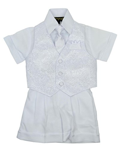 Vangogh Baby Boy Christening Baptism Infant Vest Set with Short Pant White Size 24M by Van Gogh