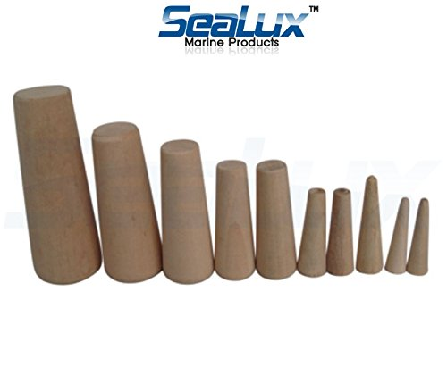 SeaLux Marine Tapered Conical Thru-hull Emergency soft Wood Plugs Set of 10 for small hull (Tools Boat Wooden)