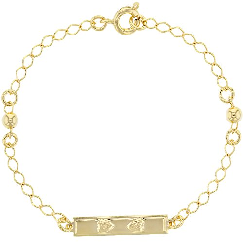 Chain Childrens Id Bracelet - 18k Gold Plated Heart ID Tag Small Ball Link Chain Bracelet for Girls 6