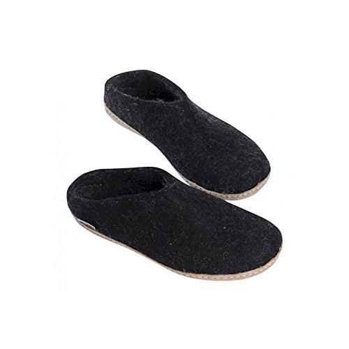 Glerups - Zapatillas de estar por casa de lana para mujer negro negro