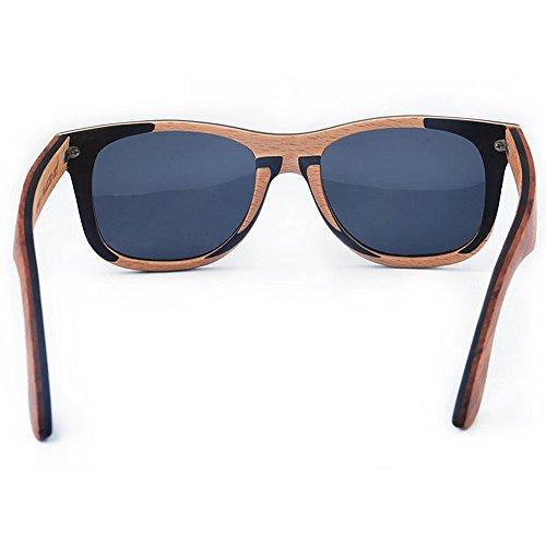 retro la de marrón calidad sol de madera polarizadas sol lente de a del los de sol hombres de Gafas Gafas de alta hechas TAC la gaf de las Gafas que conduce ULTRAVIOLETA de Retro color Protección mano R5xP7qE