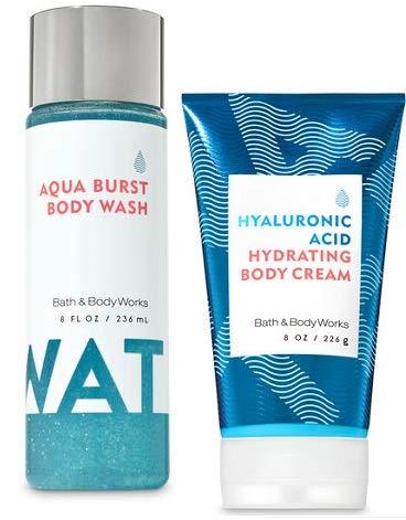 Bath and Body Works Water Collection Set. Hyaluronic Acid Hydrating Body Cream 8 Oz. & Water Aqua Burst Body Wash 8 Oz.