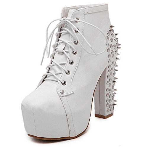 Round AdeeSu White Toe Womens High Ankle Boots Retro Urethane UEUr6cqR