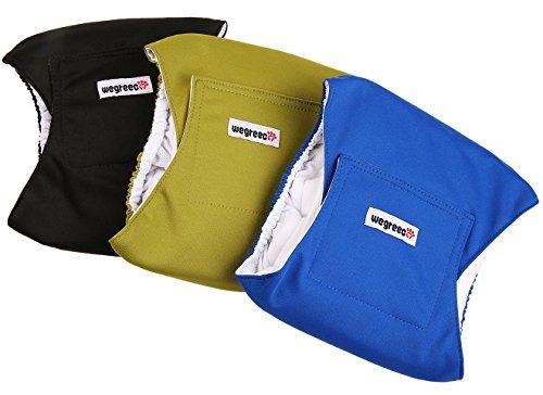 wegreeco Washable Male Dog Belly Wrap - Pack of 3 - (Black,Blue,Olive,XX-Large)