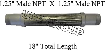 """New Flexible Metal Hose Connector 1.25"""" x 18"""" length air compressor stainless steel braided"""