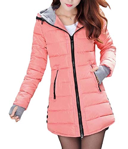 XINHEO Womens Zips Solid Fit Mid-Long Warm Hoode Pocketed Down Jackets Pattern1
