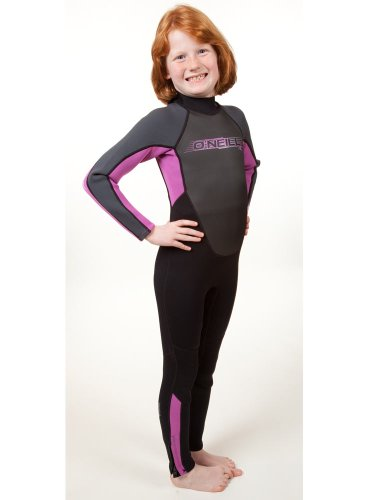 O'Neill Youth Reactor 3/2mm Back Zip Full Wetsuit, Black/Pink/Graphite, - Pads Pink Construction Knee